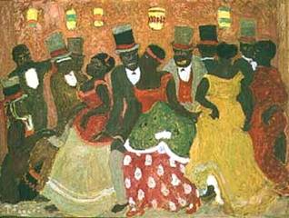 "Fig. 2 Pedro Figari, Candombe Federal, n/d. Oil on cardboard, 24.4"" x 32.3"". Published with permission of fernando Saavedra Faget."